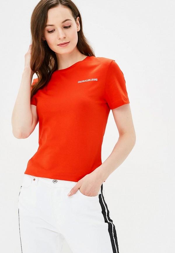 Купить Футболка Calvin Klein Jeans, CA939EWBRKC3, красный, Весна-лето 2018