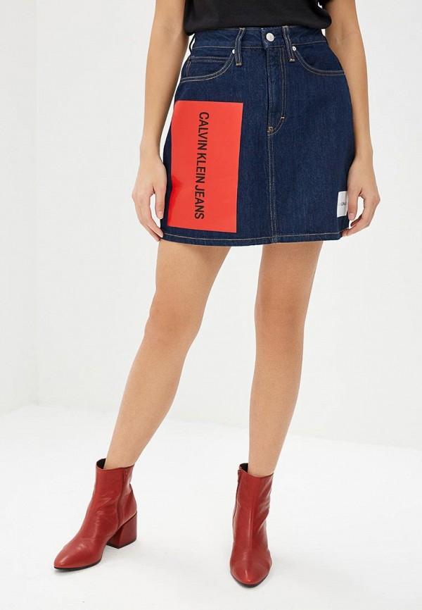 Купить Юбка джинсовая Calvin Klein Jeans, ca939ewbtjt9, синий, Осень-зима 2018/2019