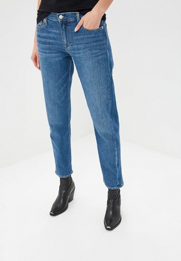 женские джинсы бойфренд calvin klein, синие