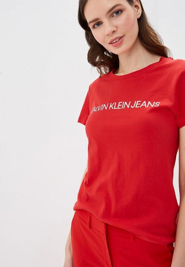 Купить Футболка Calvin Klein Jeans, ca939ewduex1, красный, Весна-лето 2019