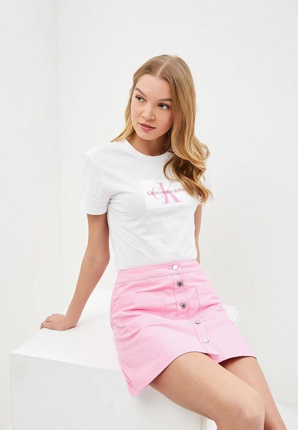 женская футболка calvin klein, белая