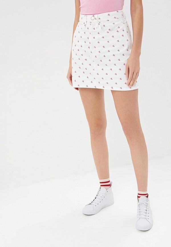 Фото - Юбка джинсовая Calvin Klein Jeans Calvin Klein Jeans CA939EWDUFW1 юбка женская calvin klein jeans цвет белый голубой j20j207792 1120 размер l 46 48