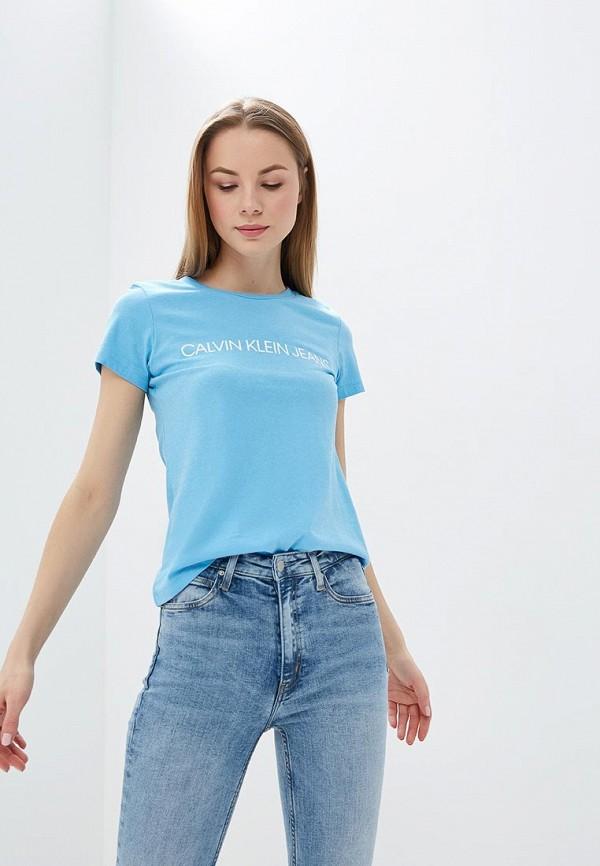 Фото - Футболка Calvin Klein Jeans Calvin Klein Jeans CA939EWETIQ3 юбка женская calvin klein jeans цвет белый голубой j20j207792 1120 размер l 46 48