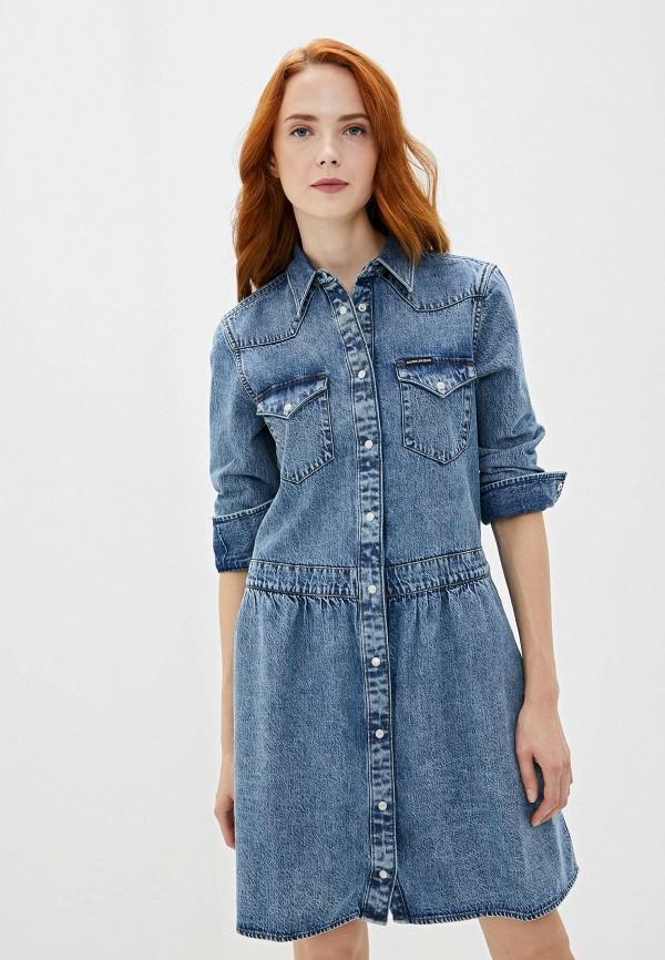 Платье джинсовое Calvin Klein Jeans Calvin Klein Jeans CA939EWFQYZ0 платье женское calvin klein jeans цвет синий j20j208154 9110 размер s 42 44