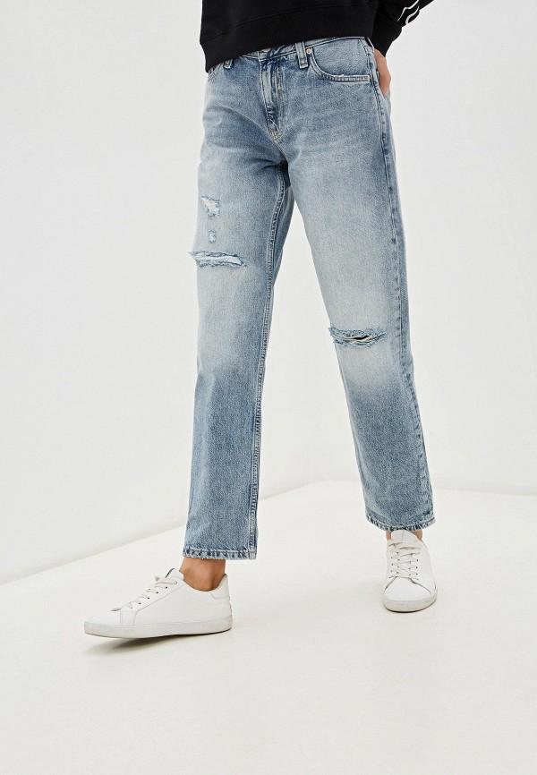 женские джинсы бойфренд calvin klein, голубые