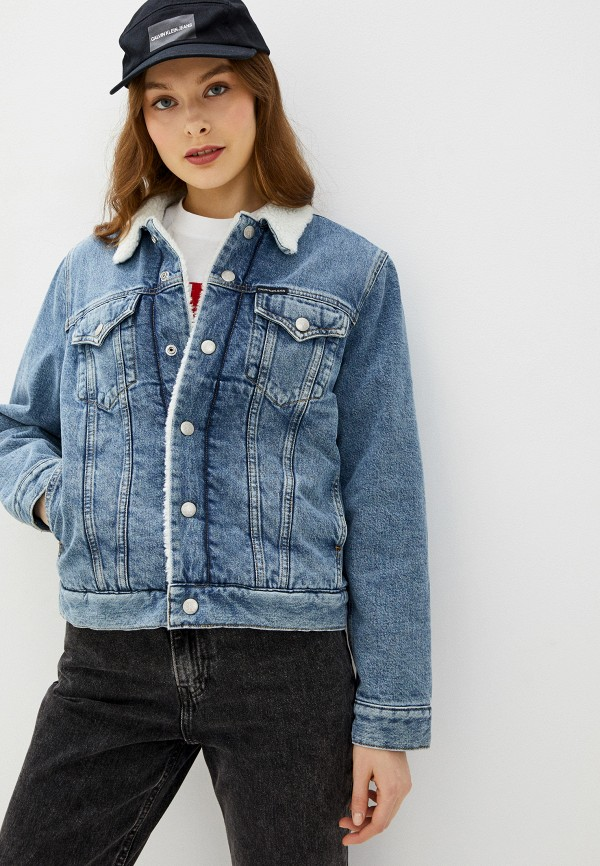 женская джинсовые куртка calvin klein, синяя