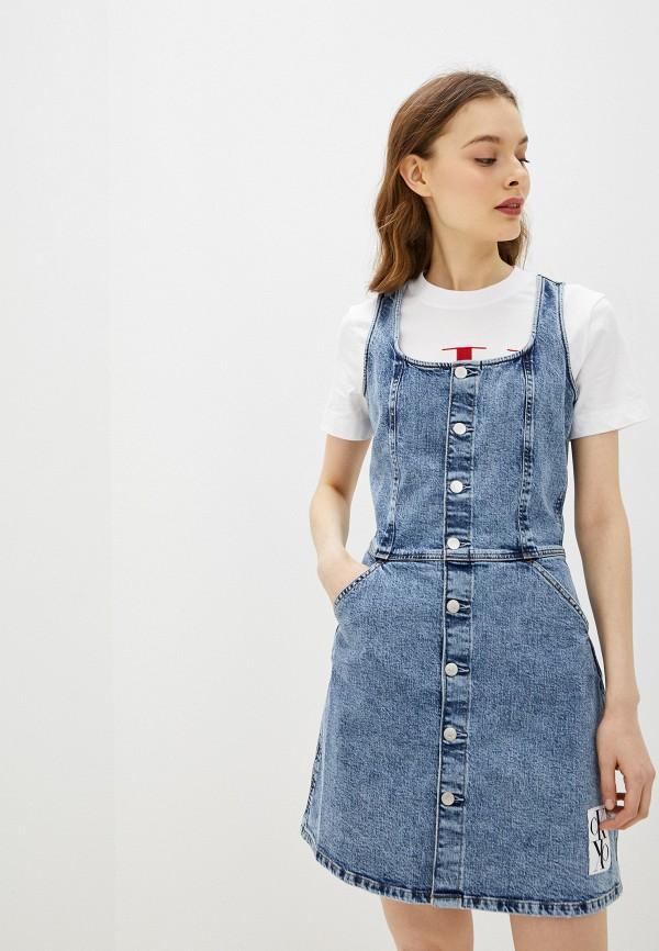 женское джинсовые платье calvin klein, синее