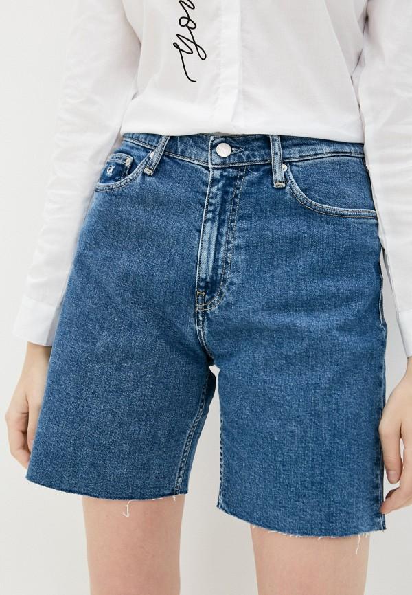 женские джинсовые шорты calvin klein, синие