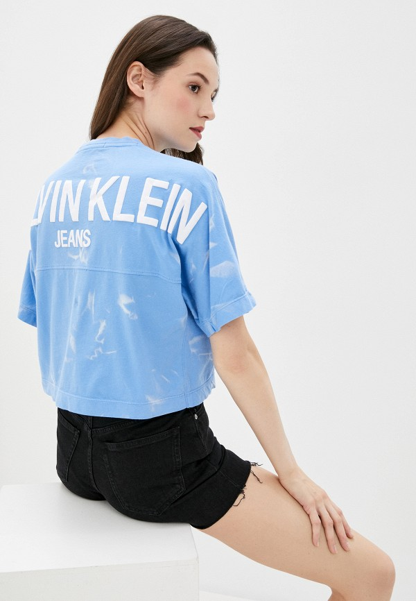 женская футболка calvin klein, голубая