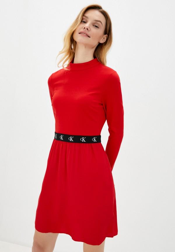 женское повседневные платье calvin klein, красное