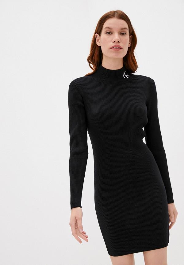 женское платье-свитеры calvin klein, черное