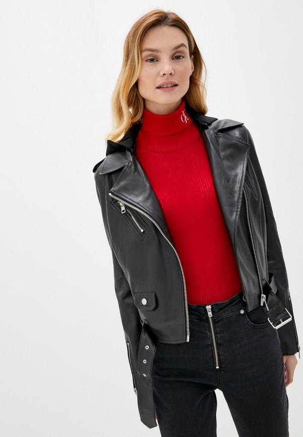 женская куртка косухи calvin klein, черная