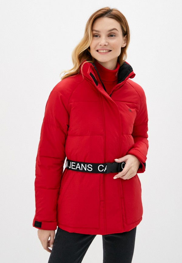 женская утепленные куртка calvin klein, красная