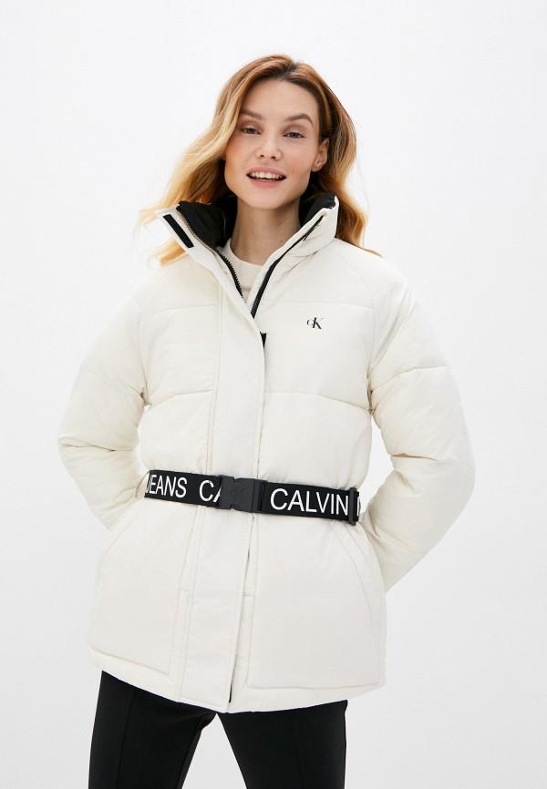 женская утепленные куртка calvin klein, бежевая