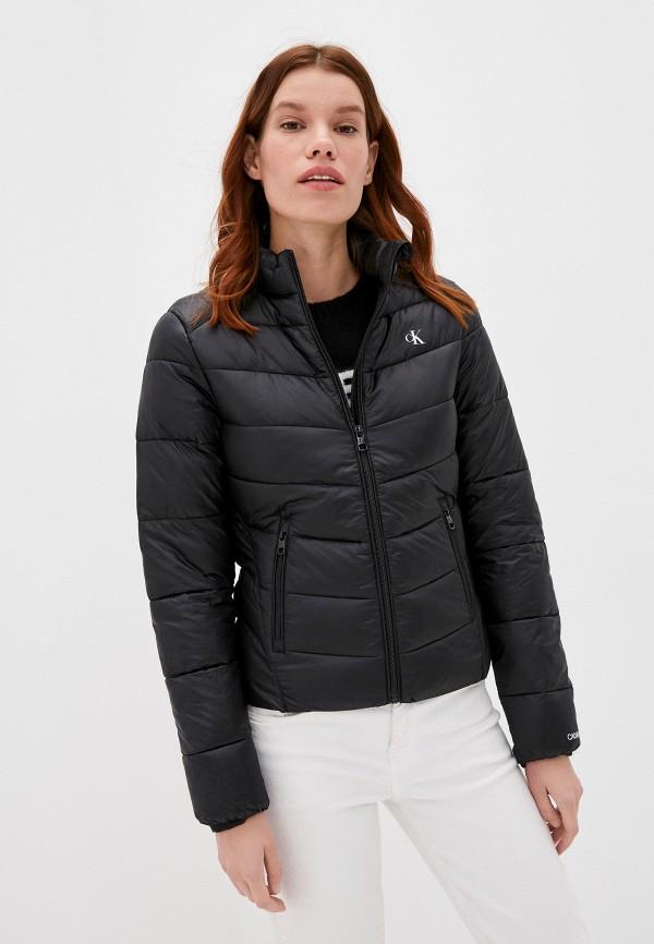 женская утепленные куртка calvin klein, черная