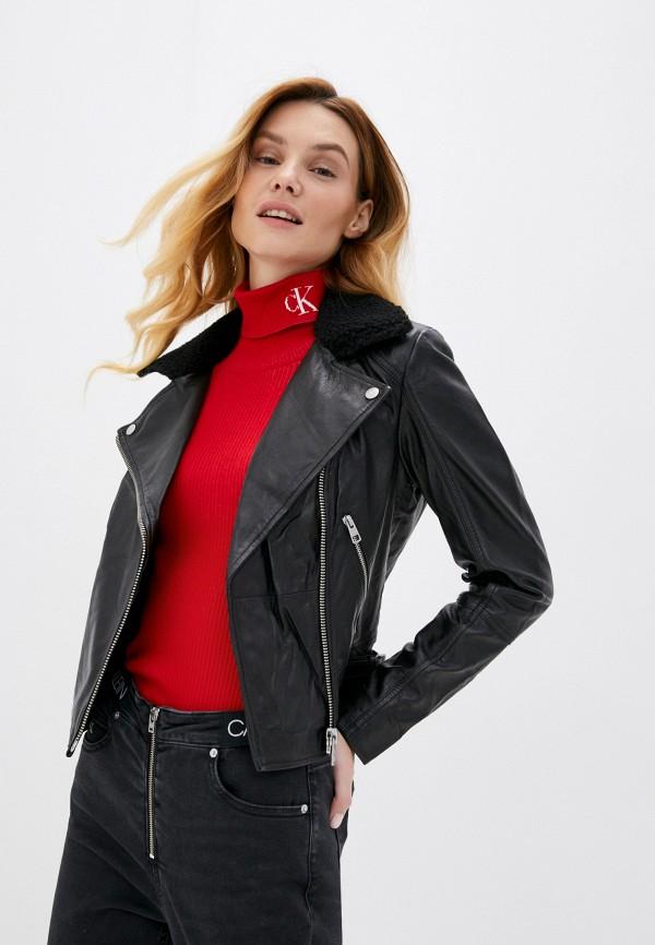 женская кожаные куртка calvin klein, черная