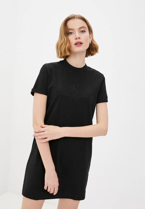 женское платье-футболки calvin klein, черное
