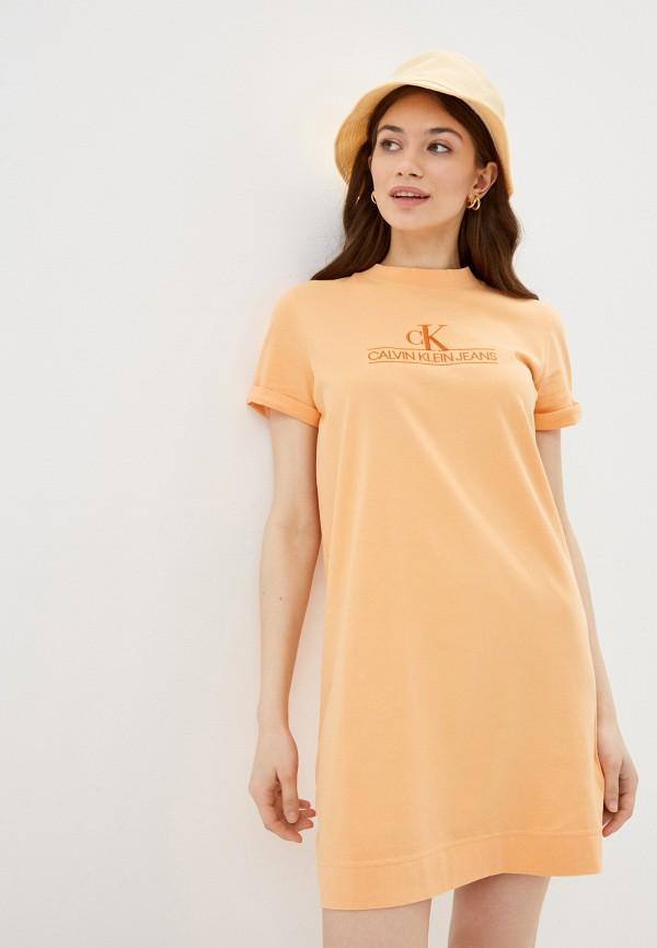 женское платье-футболки calvin klein, оранжевое