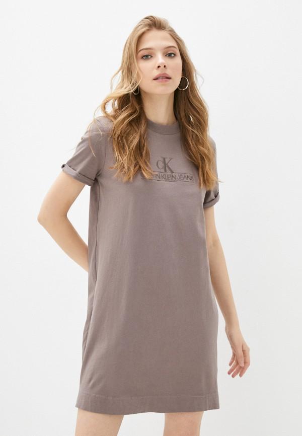 женское платье-футболки calvin klein, коричневое