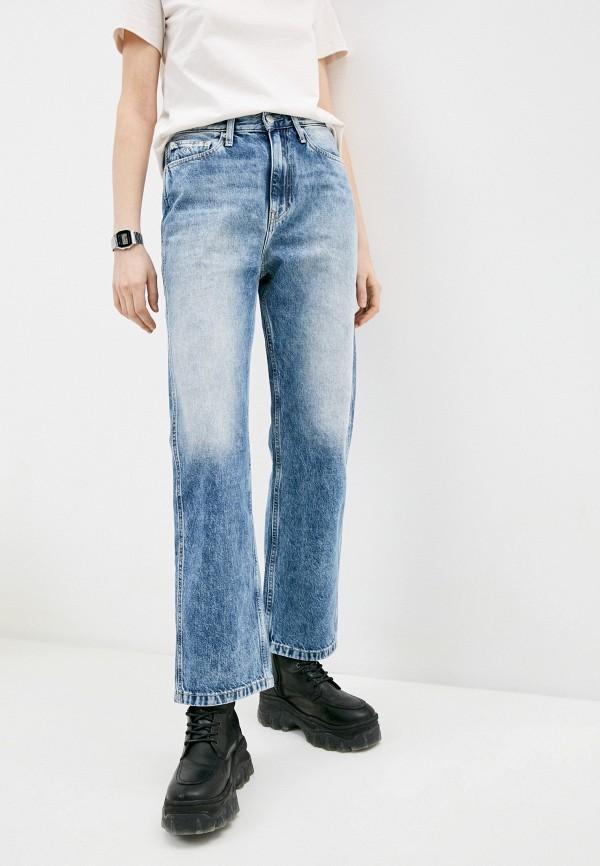женские прямые джинсы calvin klein, голубые