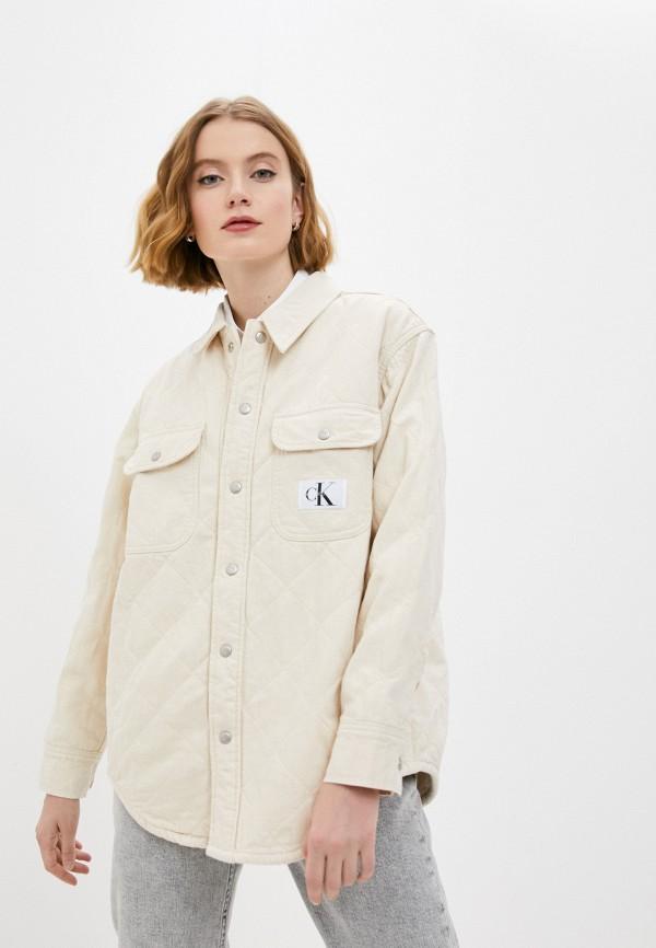 женская джинсовые куртка calvin klein, бежевая