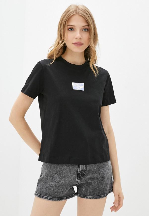 женская футболка calvin klein, черная