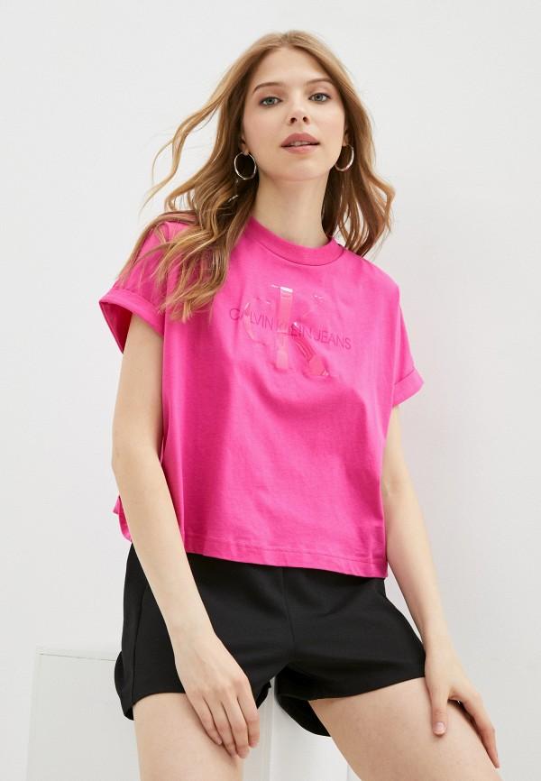 женская футболка calvin klein, розовая