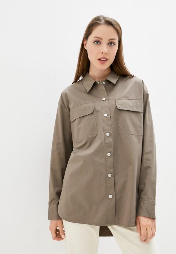женская рубашка с длинным рукавом calvin klein, коричневая