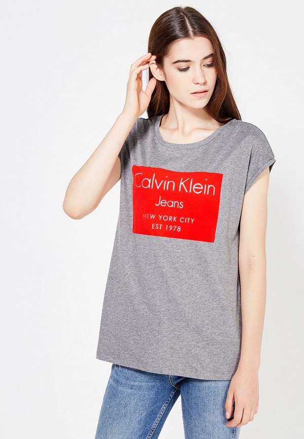 женская футболка calvin klein, серая