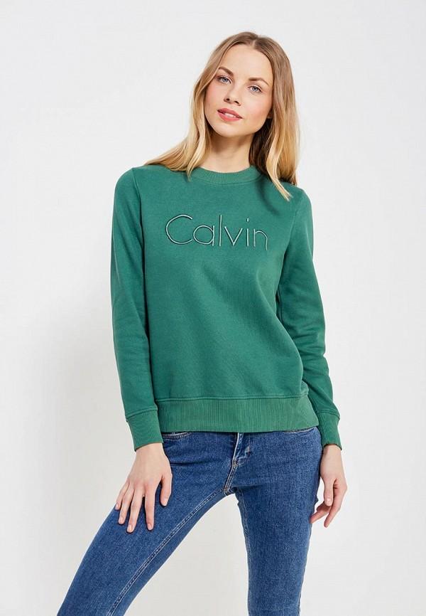 женский свитшот calvin klein, зеленый