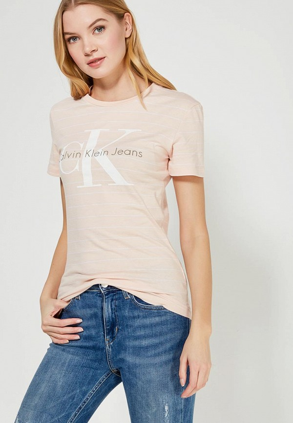 Купить Футболка Calvin Klein Jeans, CA939EWZJS43, бежевый, Весна-лето 2018