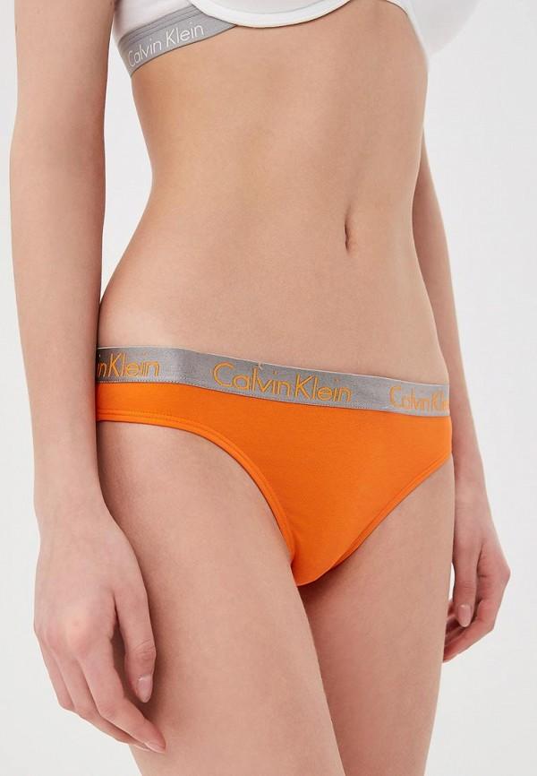 женские трусы-стринги calvin klein, оранжевые