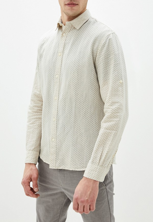 мужская рубашка с длинным рукавом celio, бежевая
