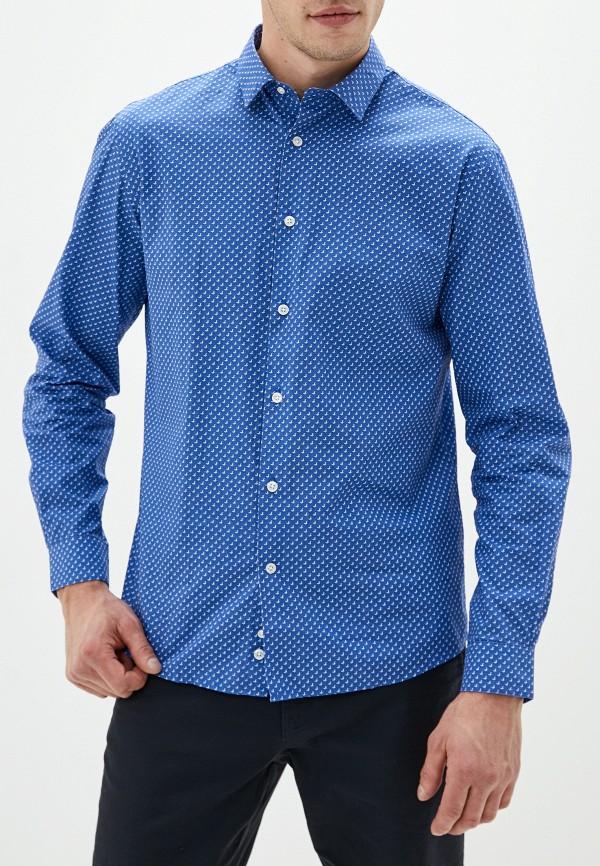 мужская рубашка с длинным рукавом celio, синяя