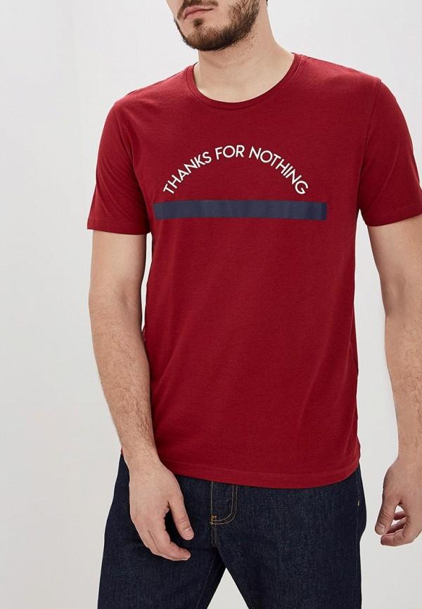 мужская футболка с коротким рукавом celio, бордовая