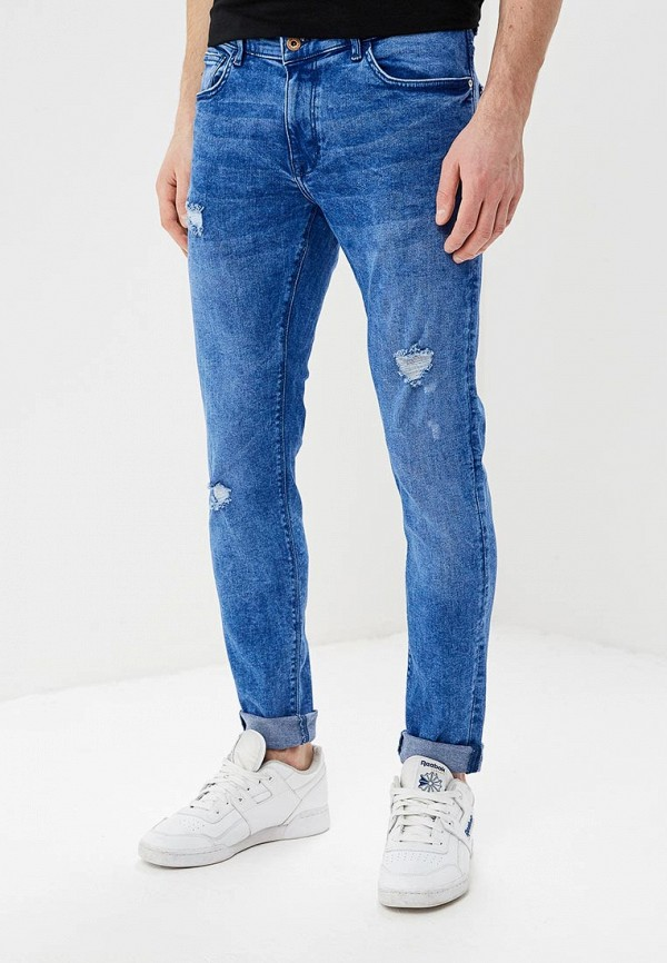 мужские зауженные джинсы celio, синие