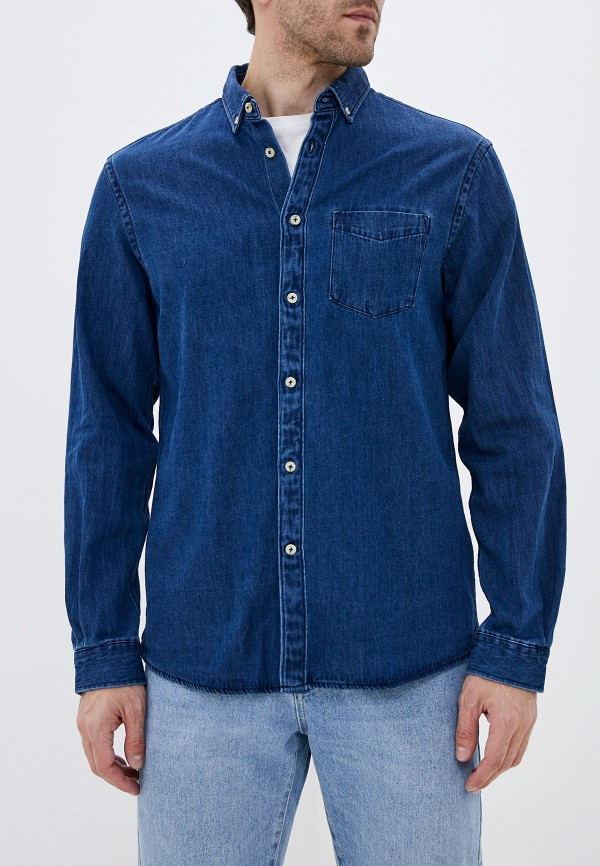 мужская джинсовые рубашка celio, синяя