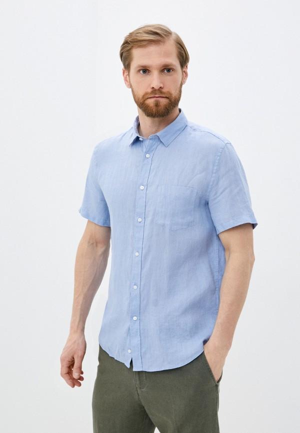 мужская рубашка с коротким рукавом celio, голубая