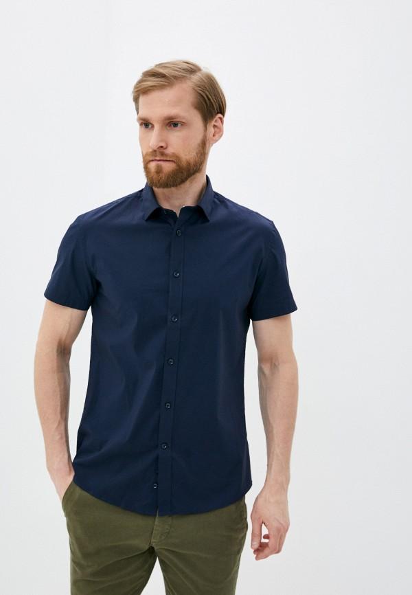 мужская рубашка с коротким рукавом celio, синяя