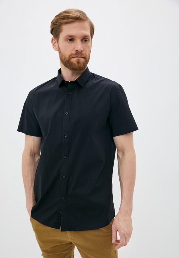 мужская рубашка с коротким рукавом celio, черная