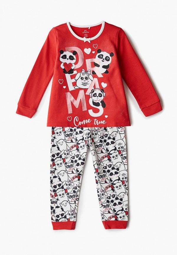 пижама chicco для девочки, разноцветная