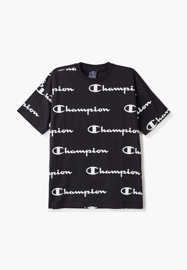 футболка champion для мальчика, черная