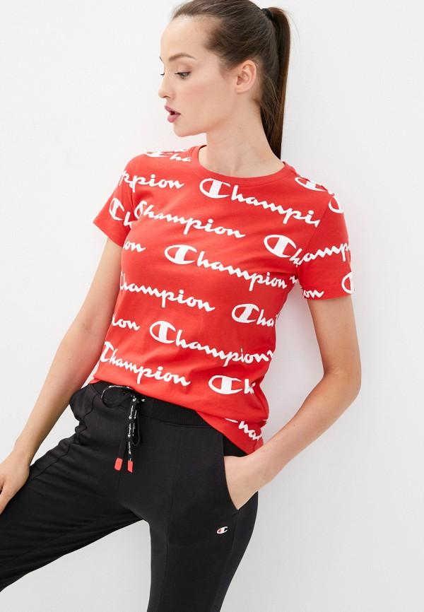женская спортивные футболка champion, красная