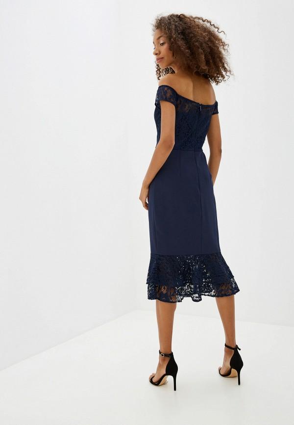 Фото 3 - женское вечернее платье Chi Chi London синего цвета