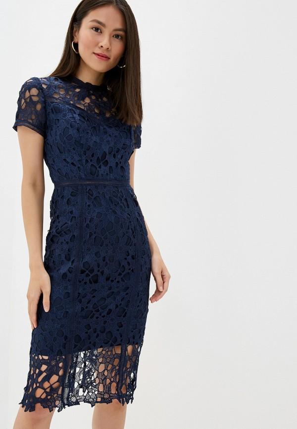 женское вечерние платье chi chi london, синее