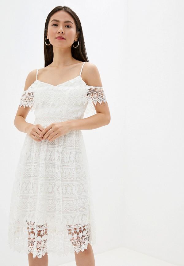 женское повседневные платье chi chi london, белое