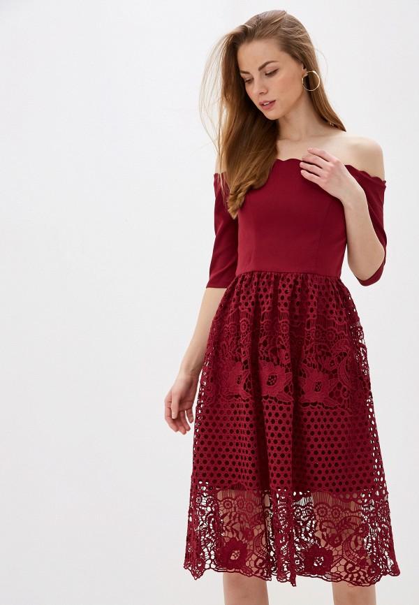 женское вечерние платье chi chi london, бордовое