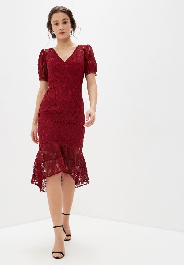 женское повседневные платье chi chi london, бордовое