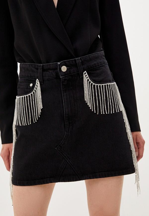 женская джинсовые юбка chiara ferragni collection, черная