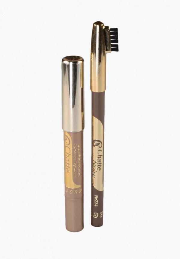 Купить Набор для макияжа бровей Chatte Noire, Карандаш для бровей + Карандаш-тени №102, 2, 85, ch059lwboju1, коричневый, Осень-зима 2018/2019